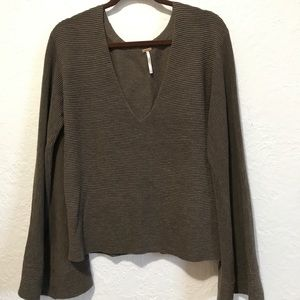 Free People - Bell Sleeve Ribbed Sweater - Size M